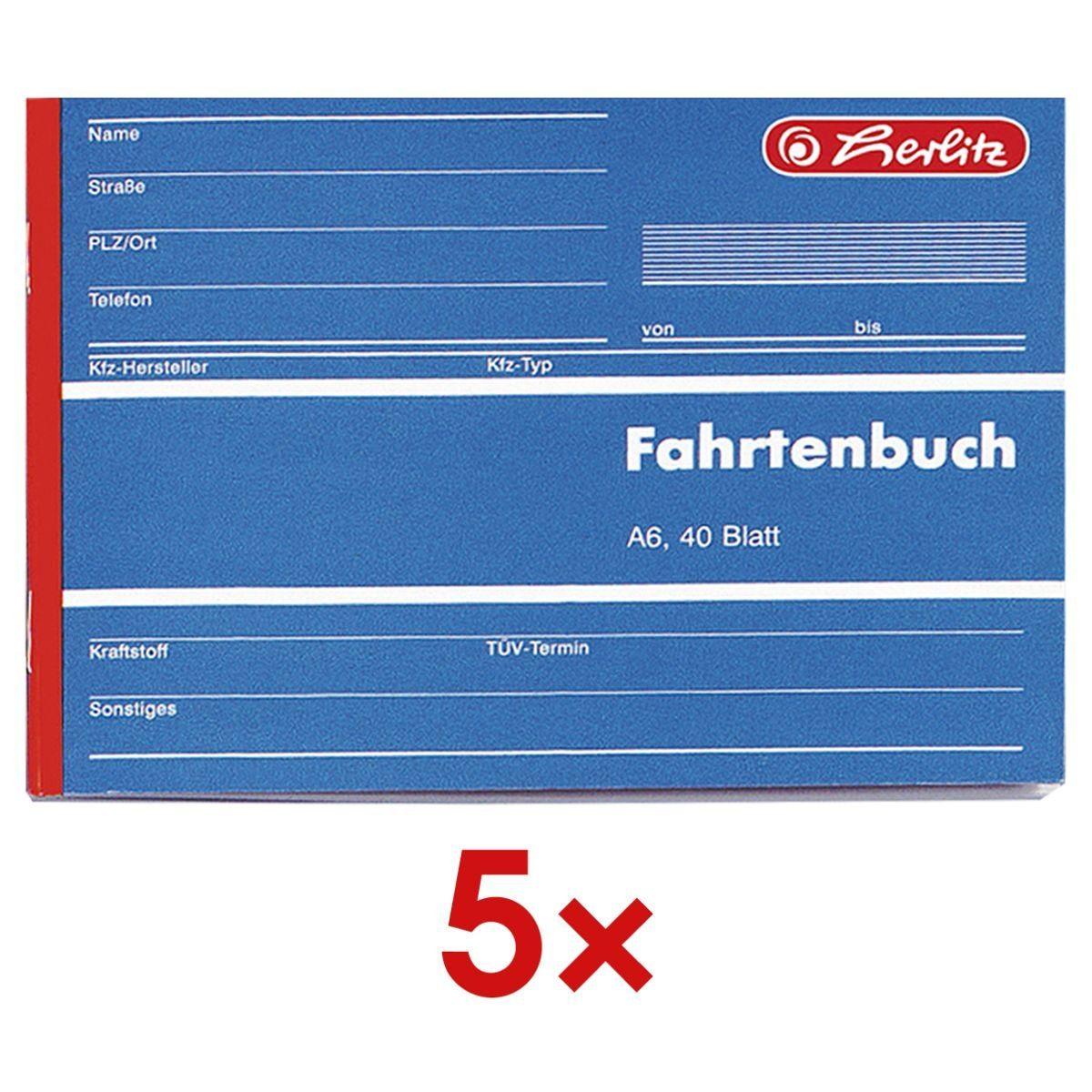Herlitz 5x Formularbuch »Fahrtenbuch« 1 Set