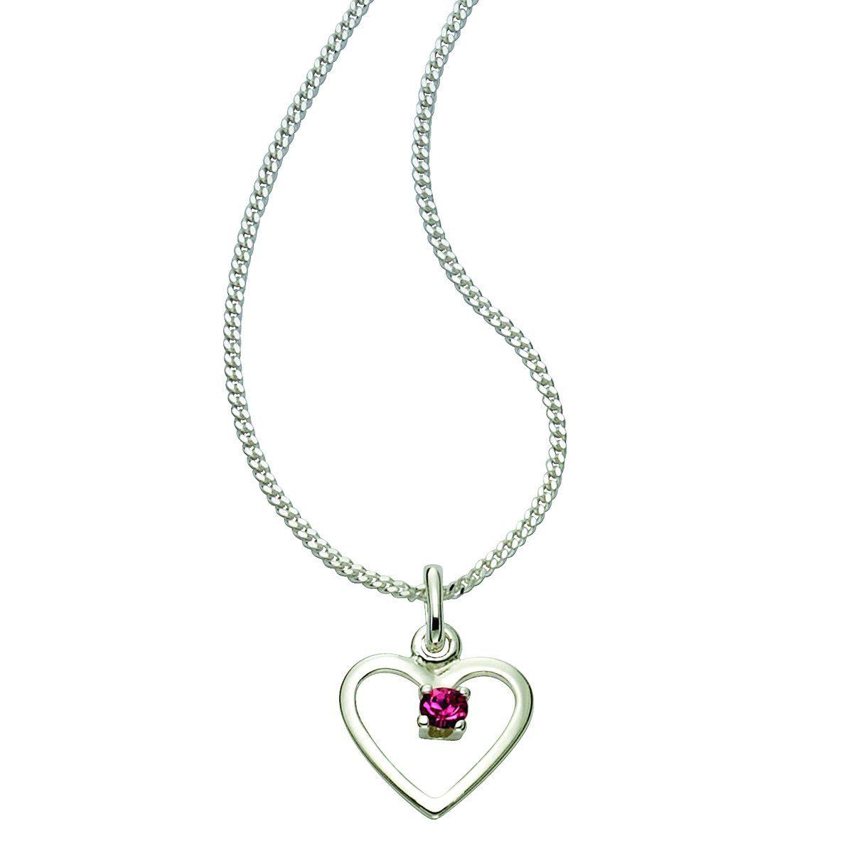 Zeeme Anhänger mit Kette »925/- Sterling Silber Glasstein rosa«