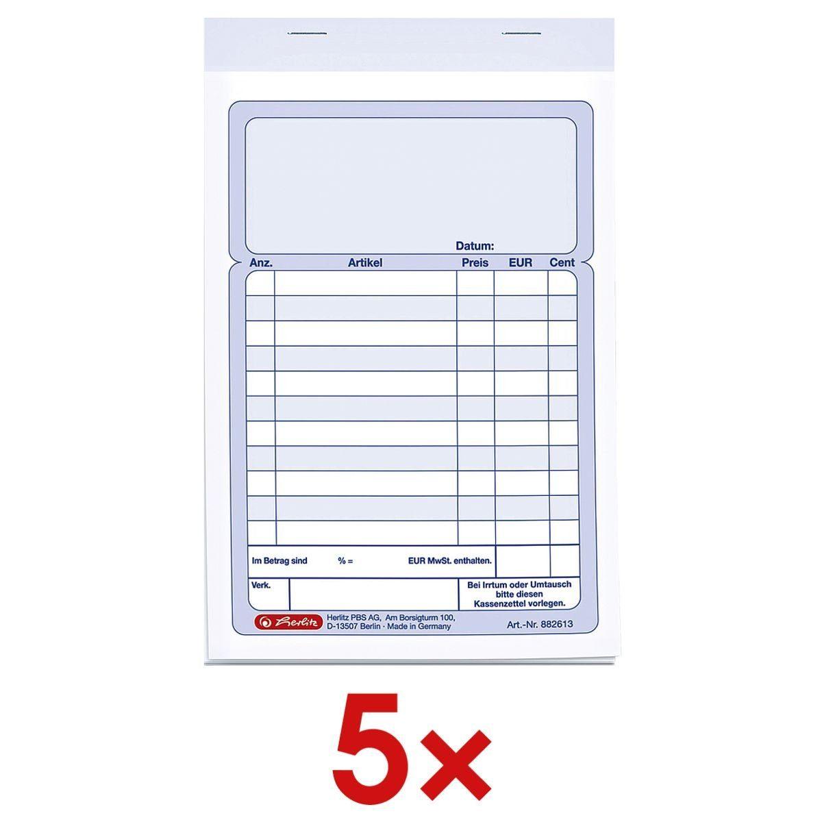 Herlitz 5x Formularvordrucke »Kassenbuch mit Additionsblatt« 1 Set