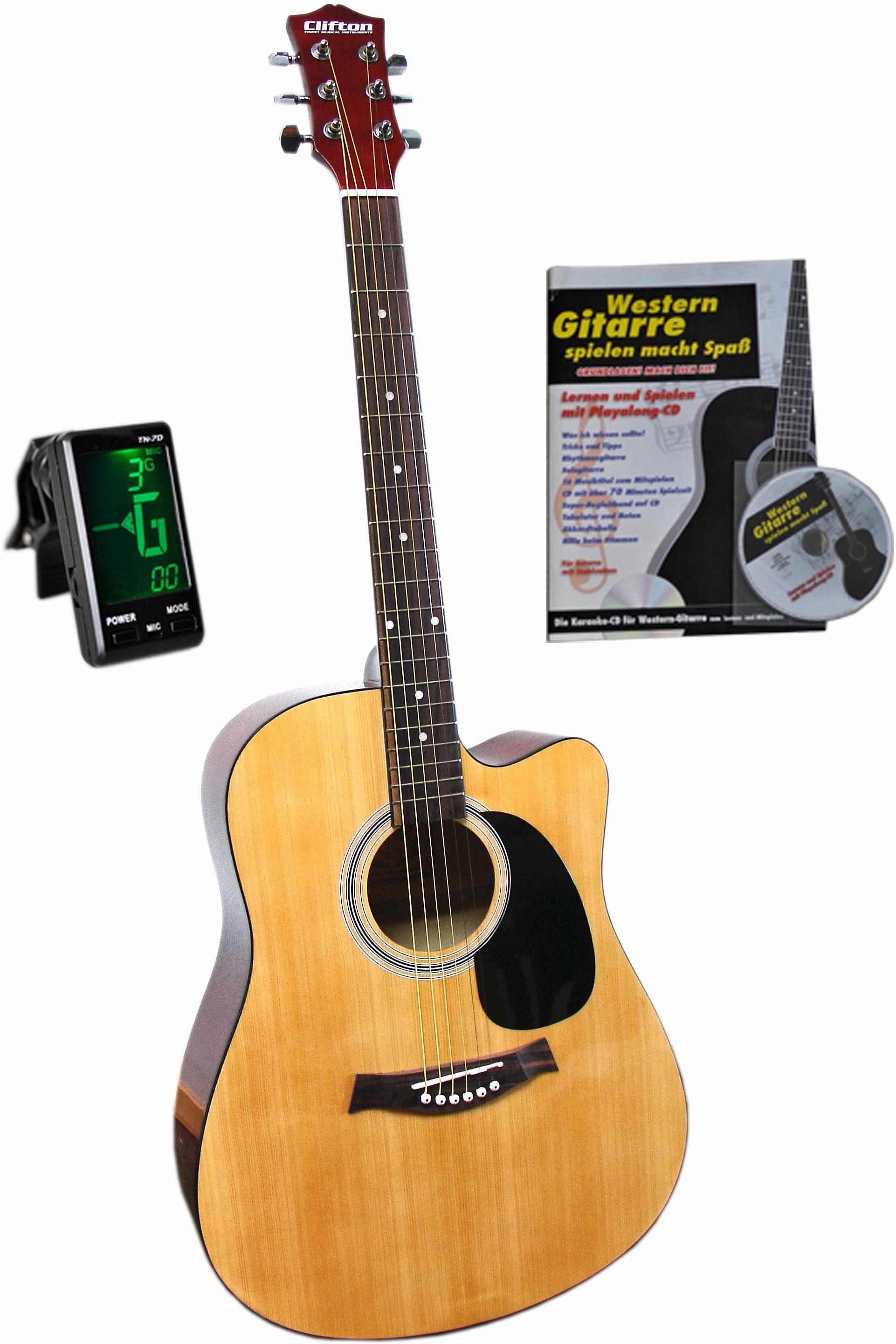 Clifton Set: Gitarre mit Stahlsaiten + Zubehör, »Clifton-Westerngitarre 41 Zoll«