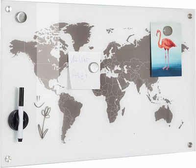 Zeller Present Pinnwand »Worldmap«, Glas 60x40