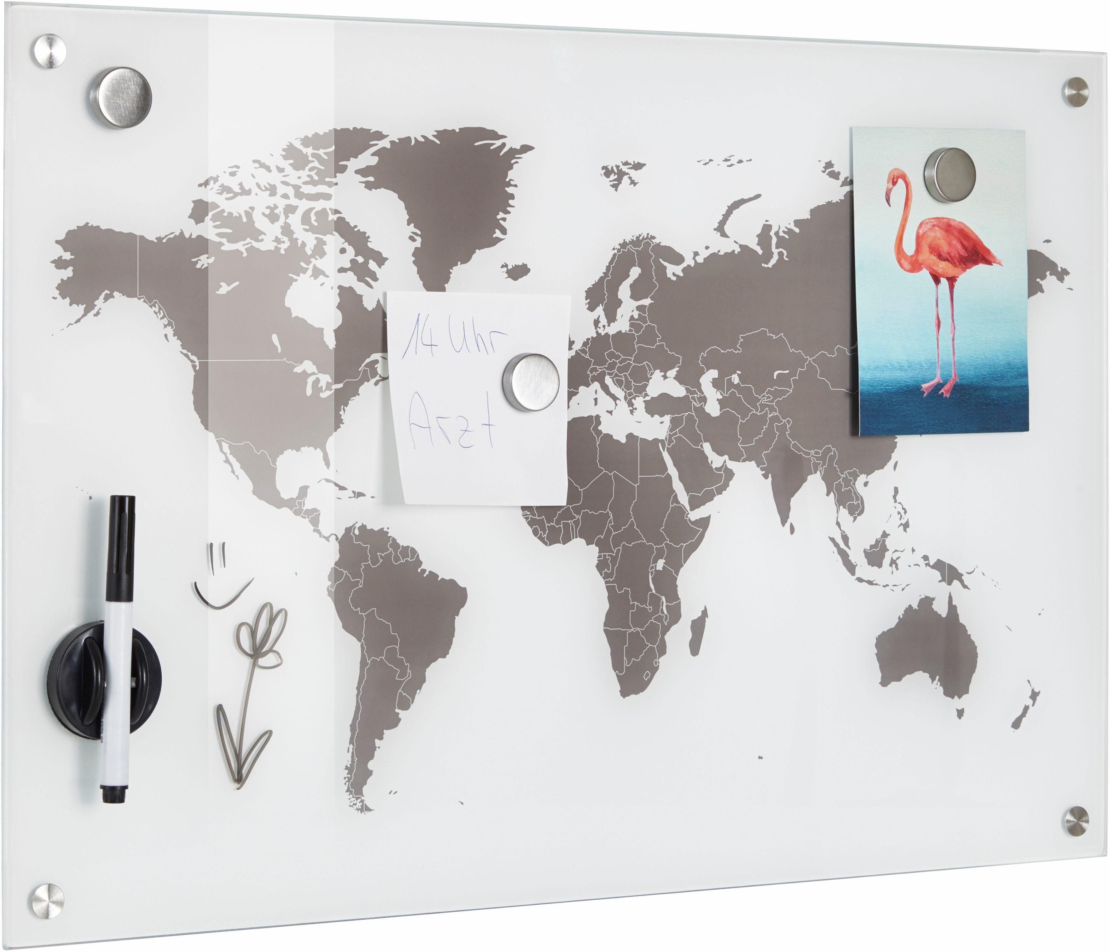 Zeller Memobord »Worldmap«, Glas 60x40