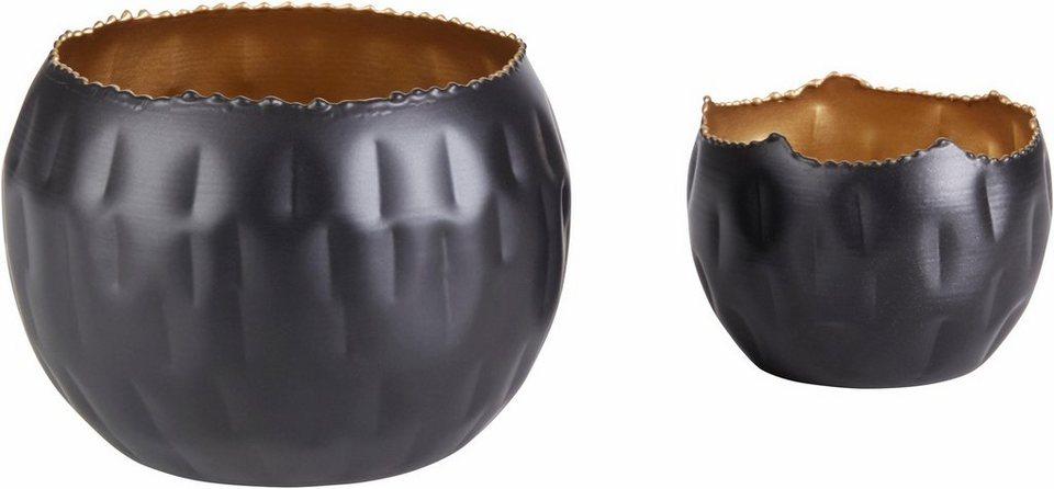 home affaire teelichthalter black gold 2er set otto. Black Bedroom Furniture Sets. Home Design Ideas