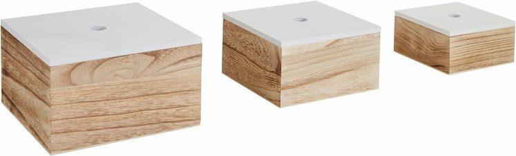 Zeller Aufbewahrungsbox, 3er Set, Holz, weiß/natur