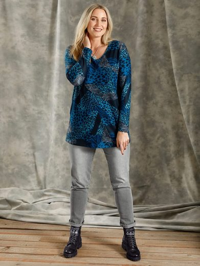 MIAMODA V-Ausschnitt-Pullover mit Animal-Druck