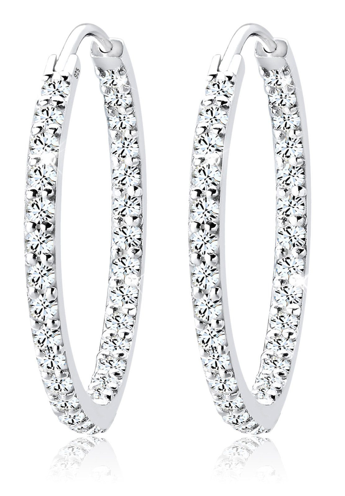 Elli Ohrringe »Creolen Swarovski® Kristall Funkelnd 925 Silber S0«