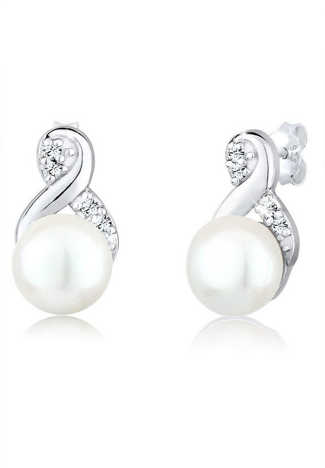 Ohrringe perlen  Perlu Ohrringe »Perlen Infinity Swarovski® Kristalle 925 Silber ...