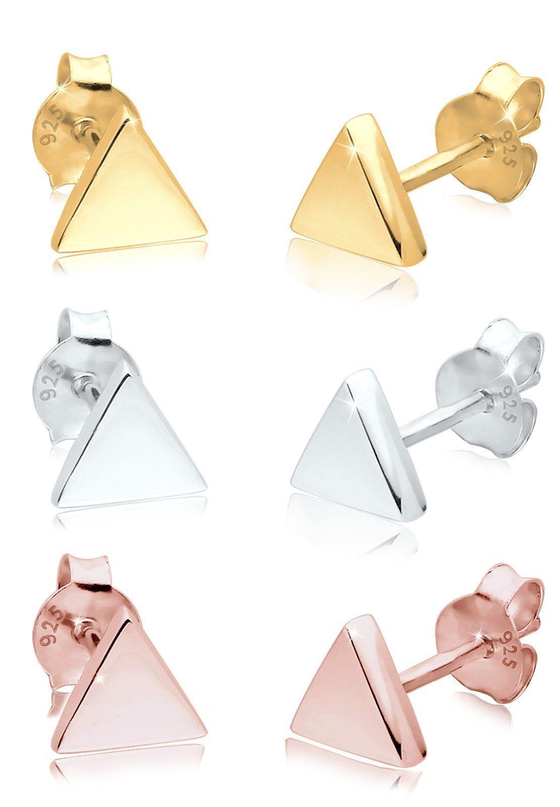 Elli Set: Ohrringe »3er Set Dreieck Geo Trend Tricolor Minimal Silber« 3 tlg.