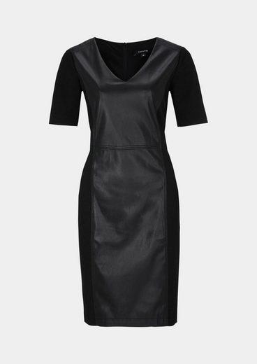 COMMA Elegantes Abendkleid mit Fake-Leder Besatz