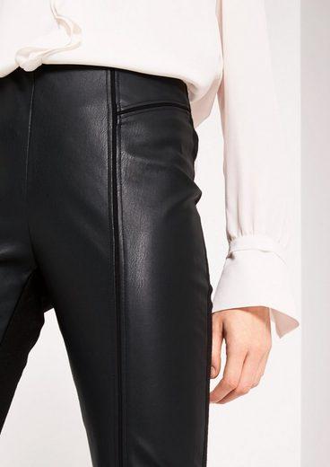 COMMA Elegante Businesshose mit Fake-Leder Besatz