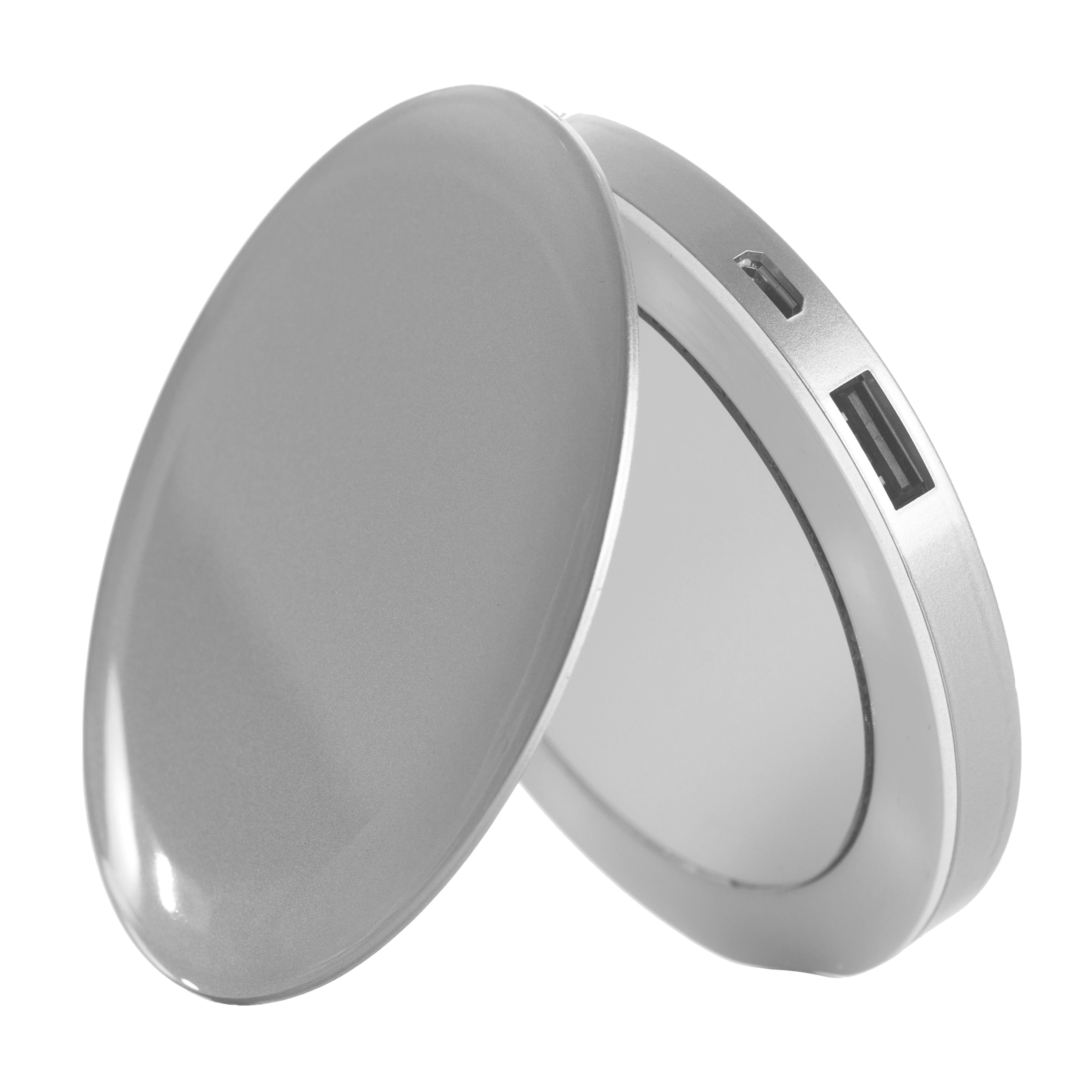 2-in-1 LED Make-up / Taschenspiegel mit Powerbank »Pearl«