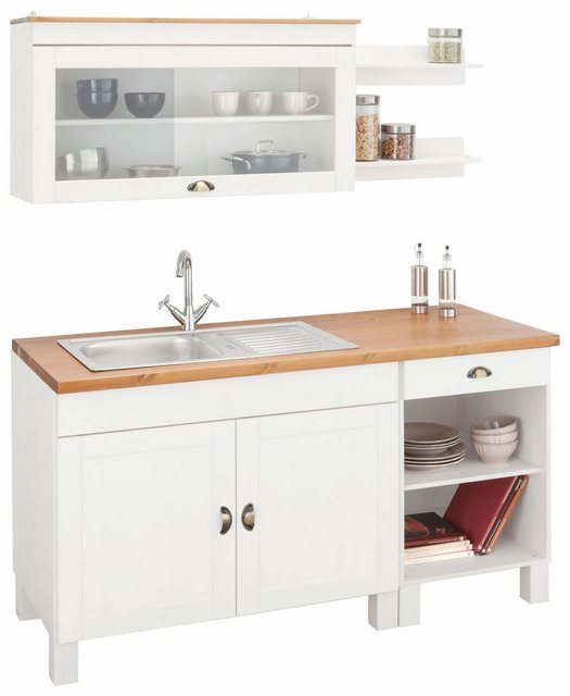 Einbauküchen - Home affaire Küchenzeile »Oslo«, ohne E Geräte, Breite 150 cm, mit 35 mm starker durchgehender Arbeitsplatte, mit Metallgriff, Landhaus Küche, aus massiver Kiefer  - Onlineshop OTTO