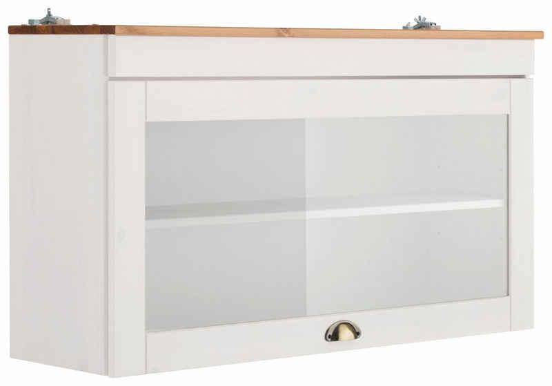 Home affaire Glashängeschrank »Oslo« 100 cm breit, aus massiver Kiefer, 1 Klappe, Metallgriff, Landhaus-Optik