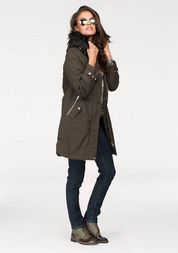 Aniston Parka, mit kontrastfarbigen, abnehmbarem Fellimitat