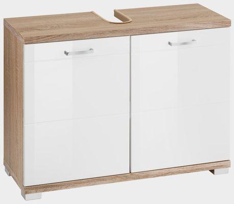 Waschbeckenunterschrank »Nusa« Breite 80 cm, Badezimmerschrank mit Metallgriffen, MDF-Fronten in Hochglanz-Optik und Ausschnitt für Abwasserleitung