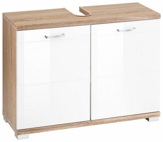 Homexperts Waschbeckenunterschrank »Nusa« Breite 80 cm, Badezimmerschrank mit Metallgriffen, MDF-Fronten in Hochglanz-Optik und Ausschnitt für Abwasserleitung