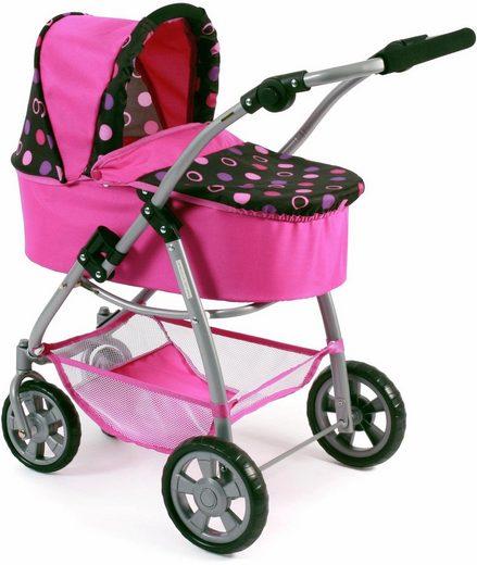 CHIC2000 Kombi-Puppenwagen »Emotion 2in1, schwarz-pink«, mit Babywanne und Sportwagenaufsatz