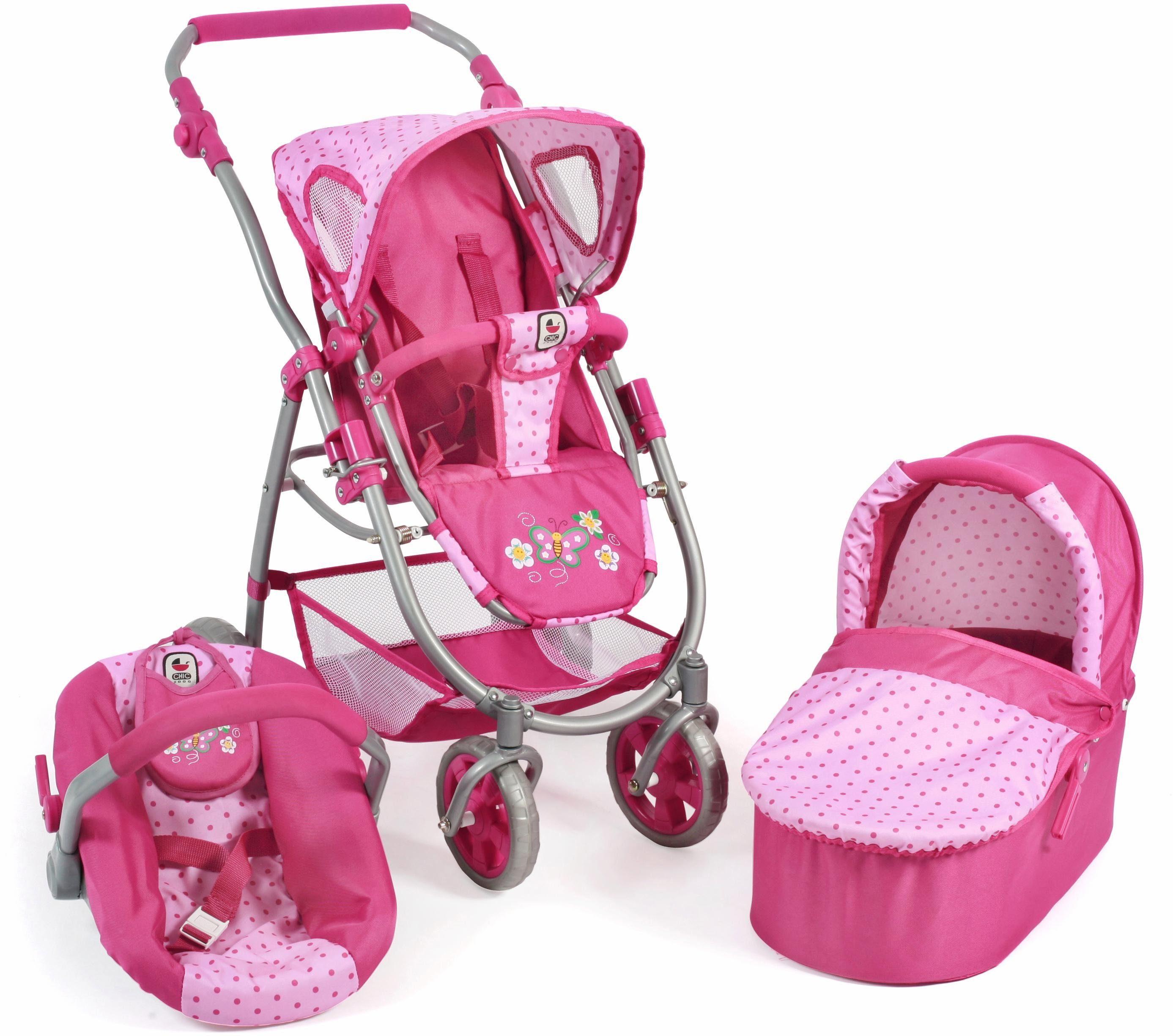CHIC2000 Kombi Puppenwagen m. Babywanne, Puppen-Autositz u. Sportwagenaufsatz, »Emotion 3in1, pink«