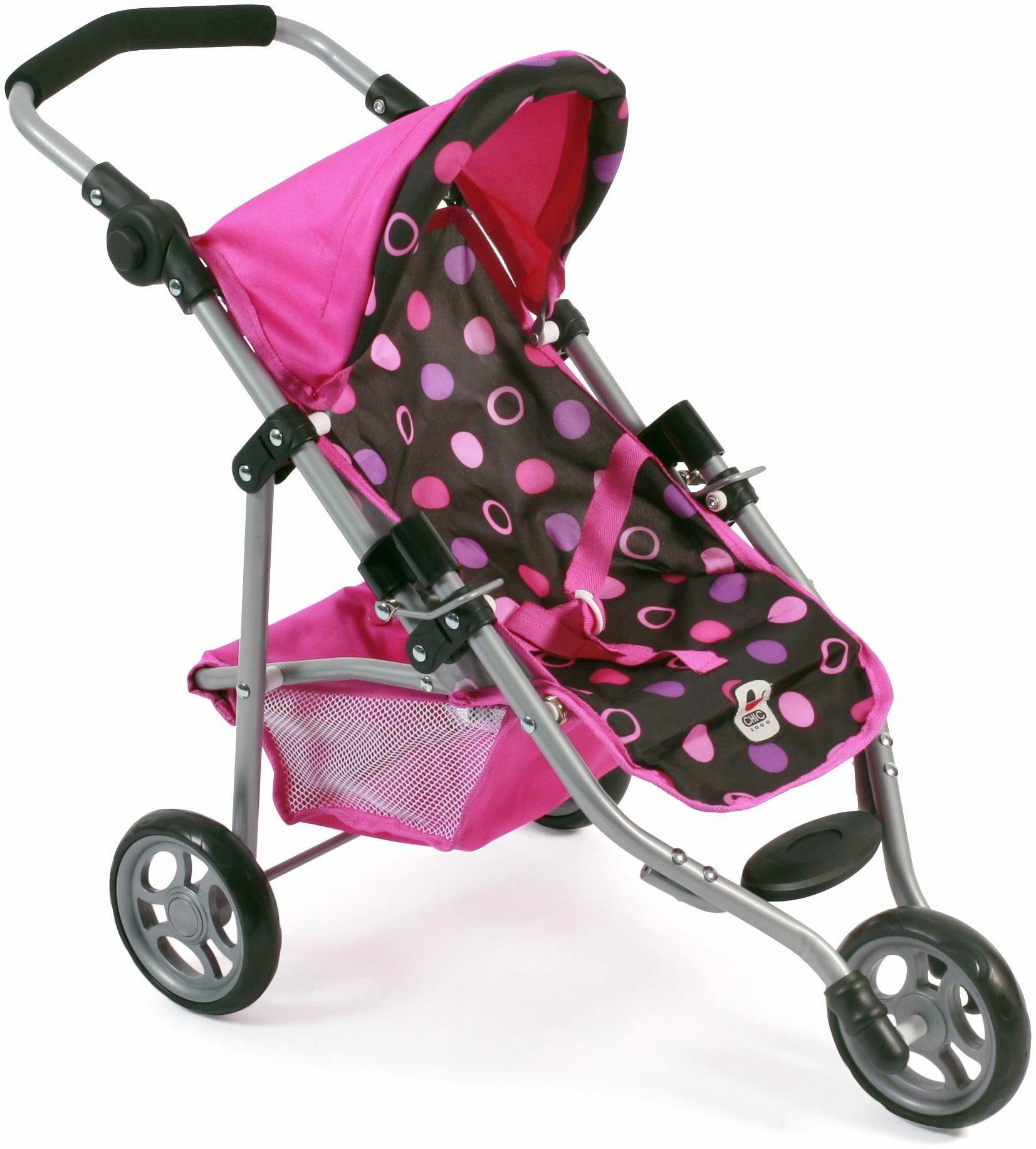 CHIC2000 Puppen Jogging Buggy mit Gurt, »Lola, schwarz-pink«