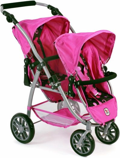 CHIC2000 Puppen Tandembuggy mit schwenkbaren Vorderrädern, »Vario, schwarz-pink«