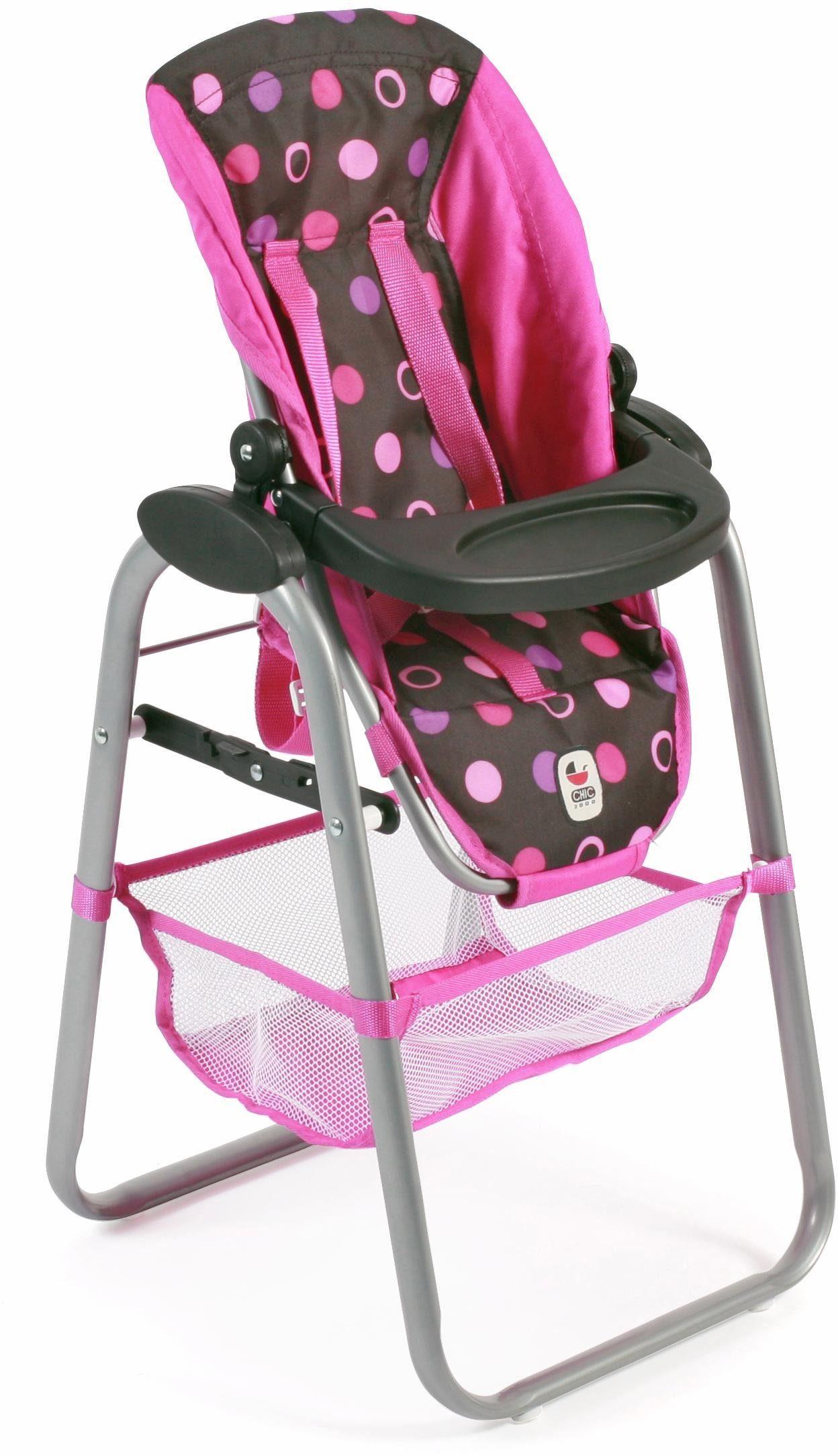 CHIC2000 Puppen Hochstuhl mit abnehmbarem Tablett, »schwarz-pink«