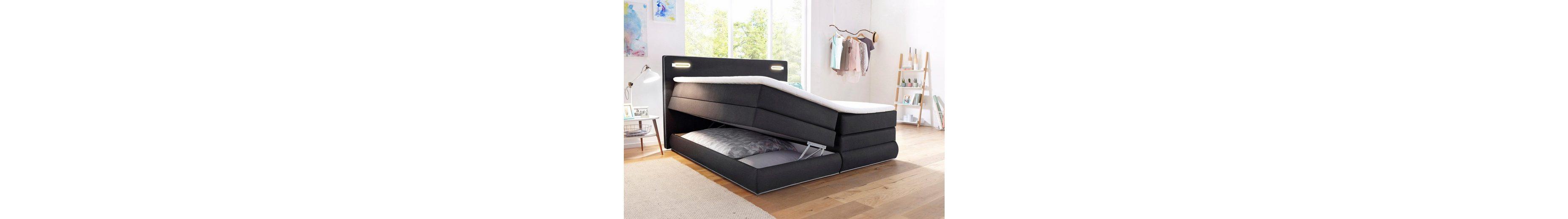 Boxspringbett mit Bettkasten offen