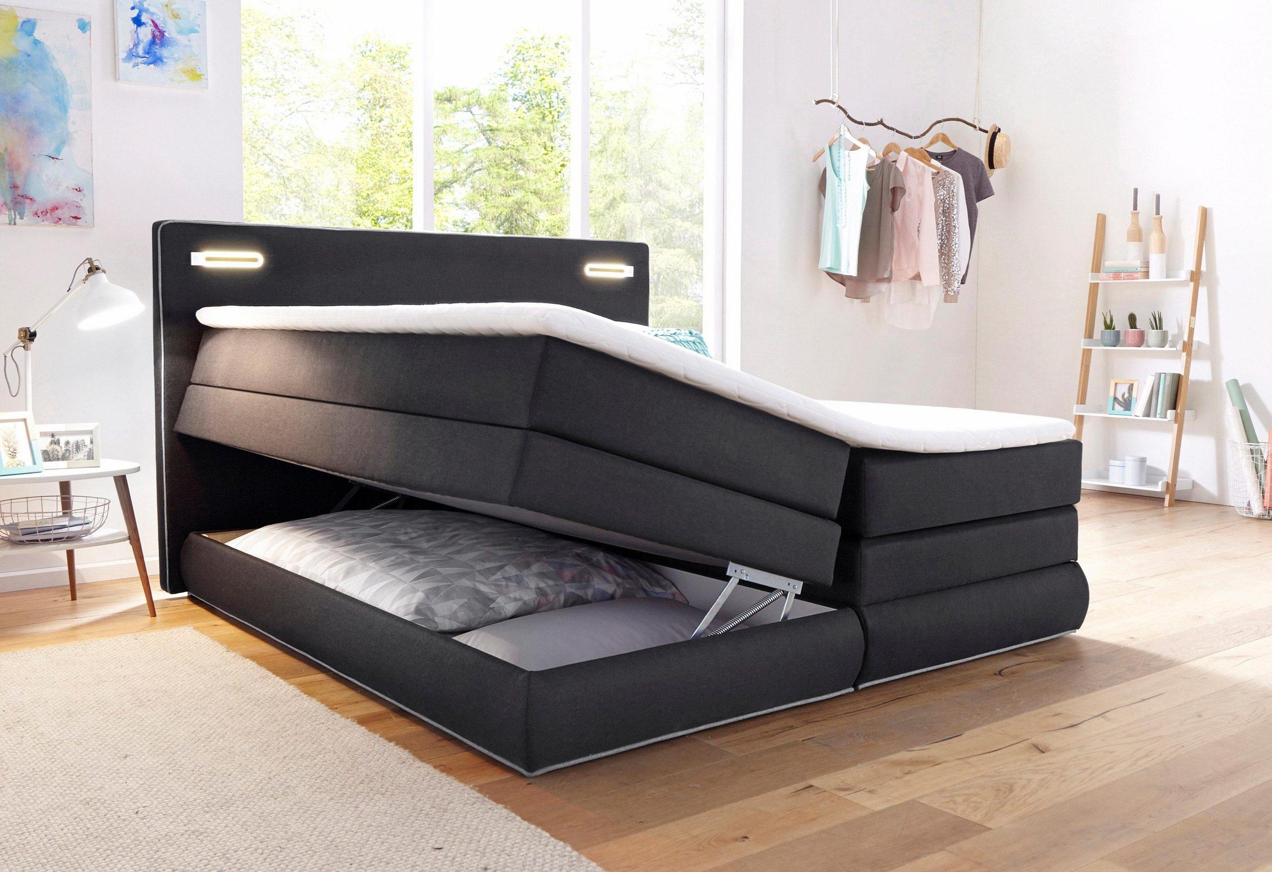 Rubona Boxspringbett mit Bettkasten über Gasdruckfedern