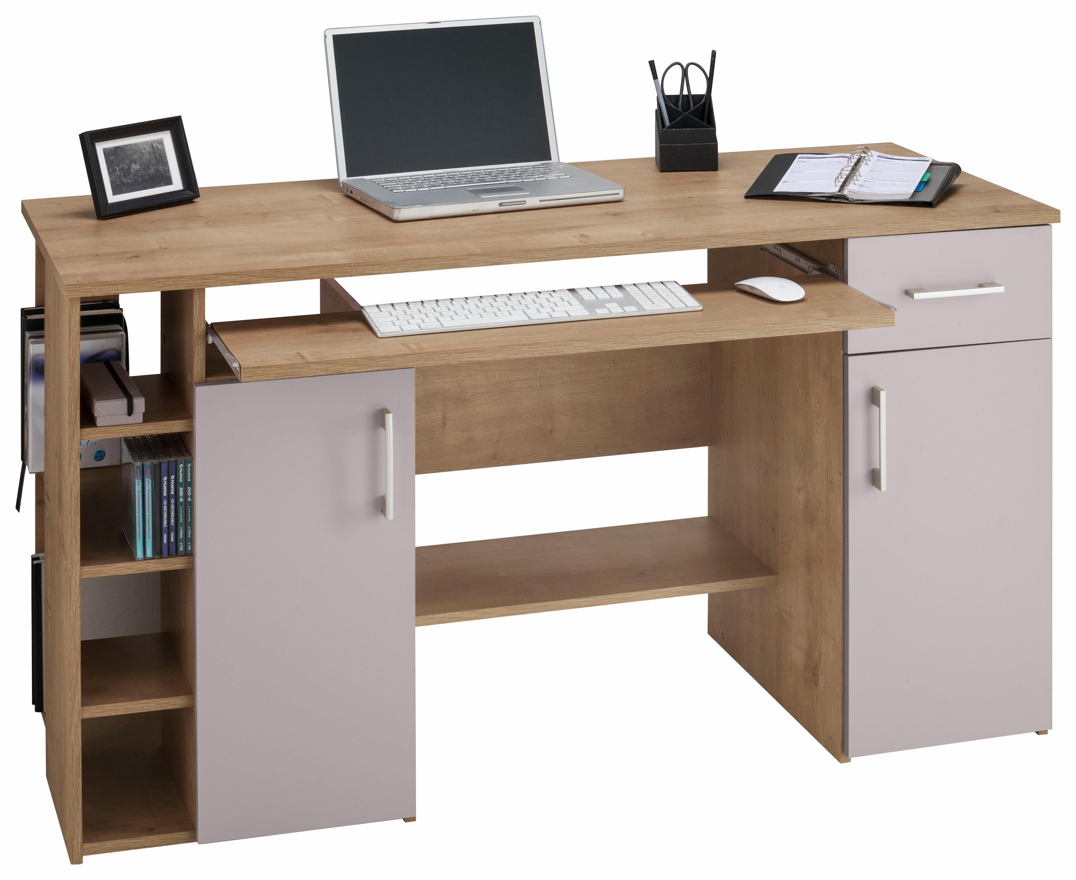 Schreibtisch »Tim«, mit 5 Fächern und Tastaturauszug | Büro > Bürotische > Schreibtische | Weiß | Sonoma - Melamin
