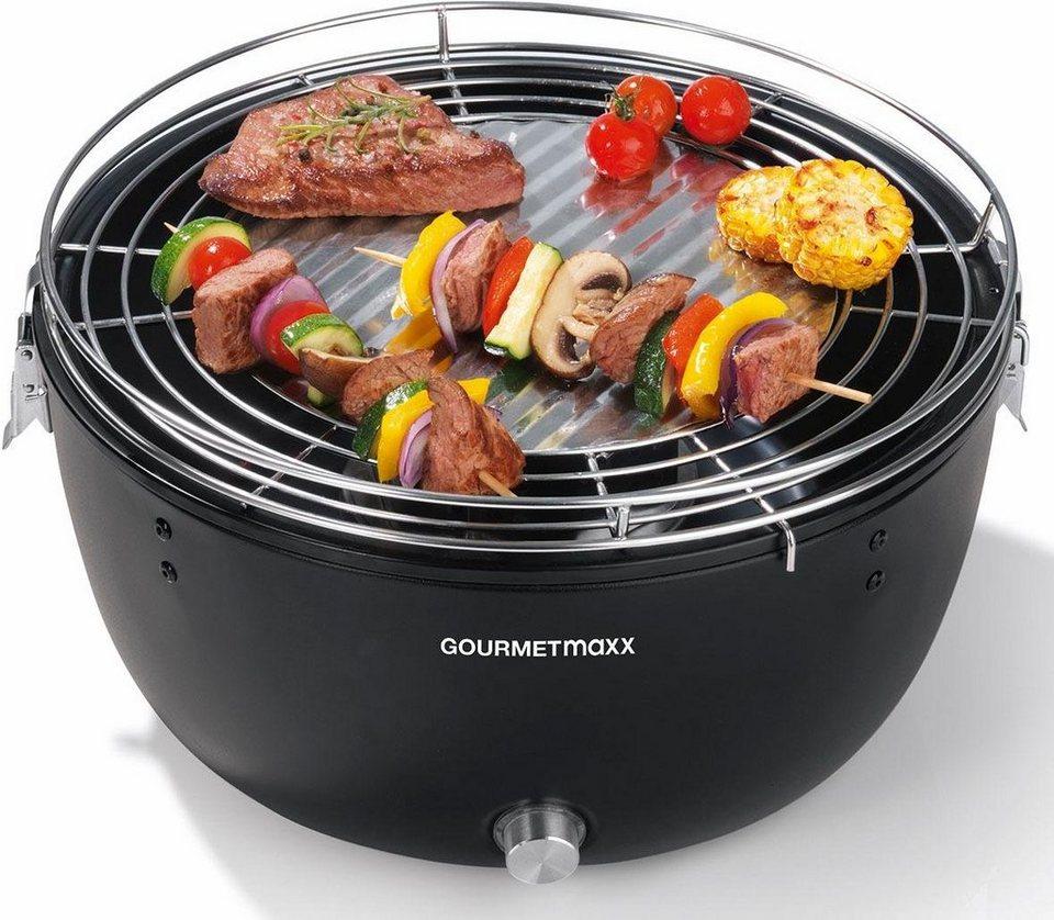 gourmetmaxx tischgrill holzkohle-grill 6v, - w, mit elektrischer