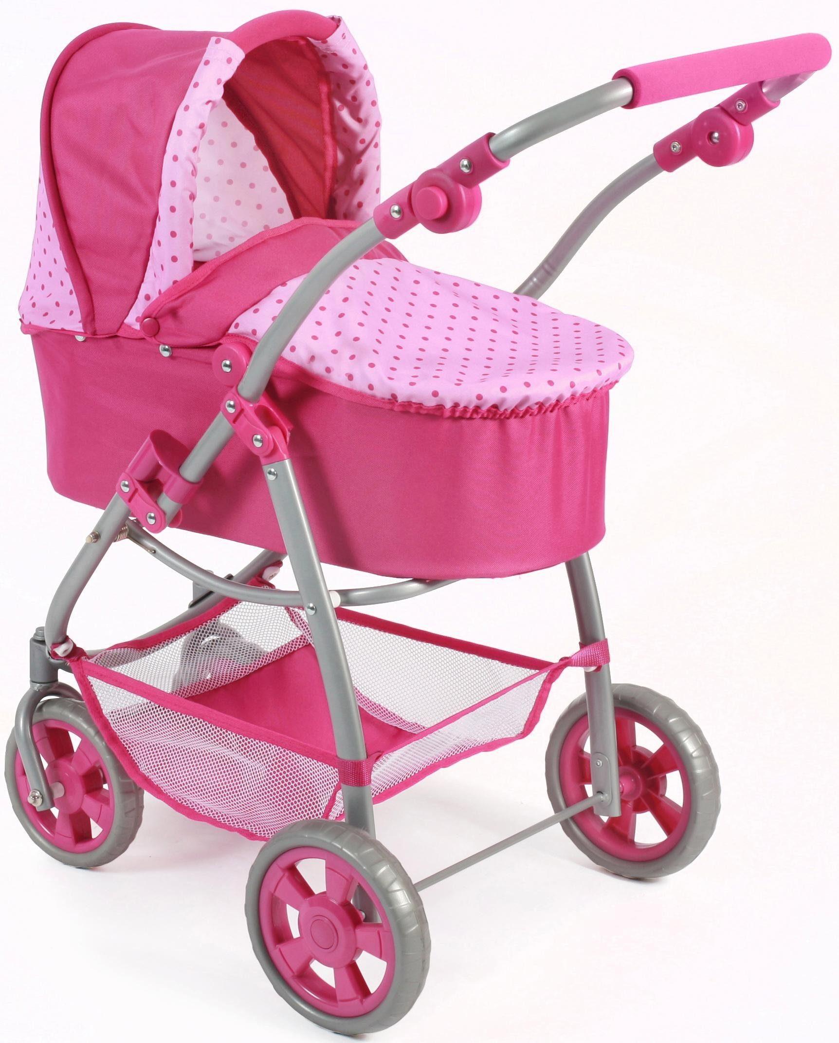 CHIC2000 Kombi Puppenwagen mit Babywanne und Sportwagenaufsatz, »Emotion 2in1, pink«