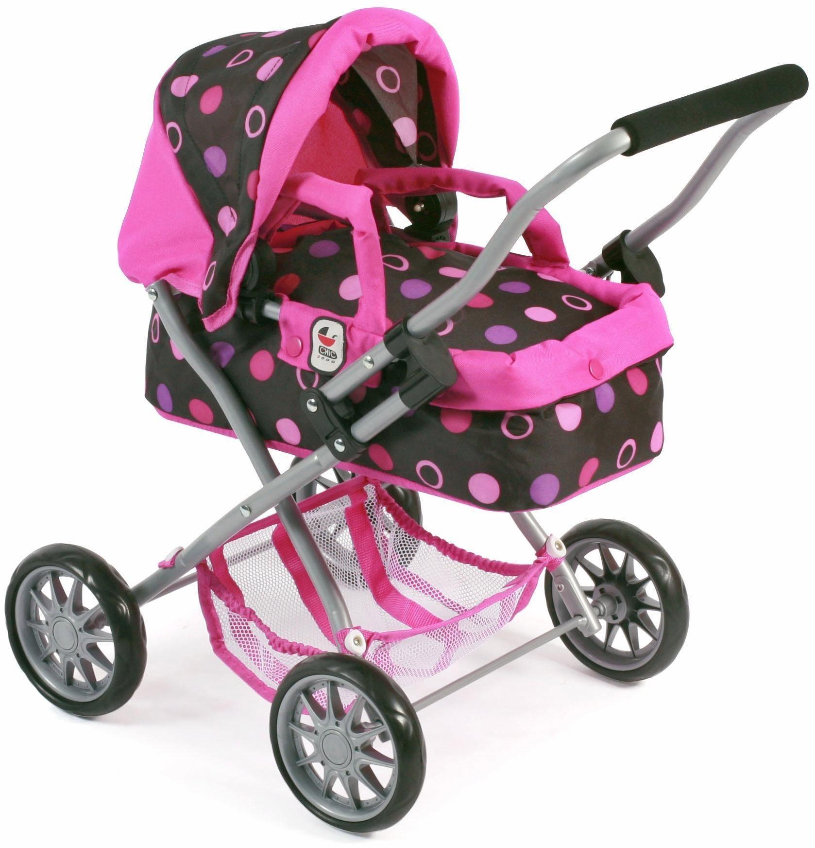 CHIC2000 Mini Puppenwagen mit herausnehmbarer Tragetasche, »Smarty, schwarz pink«