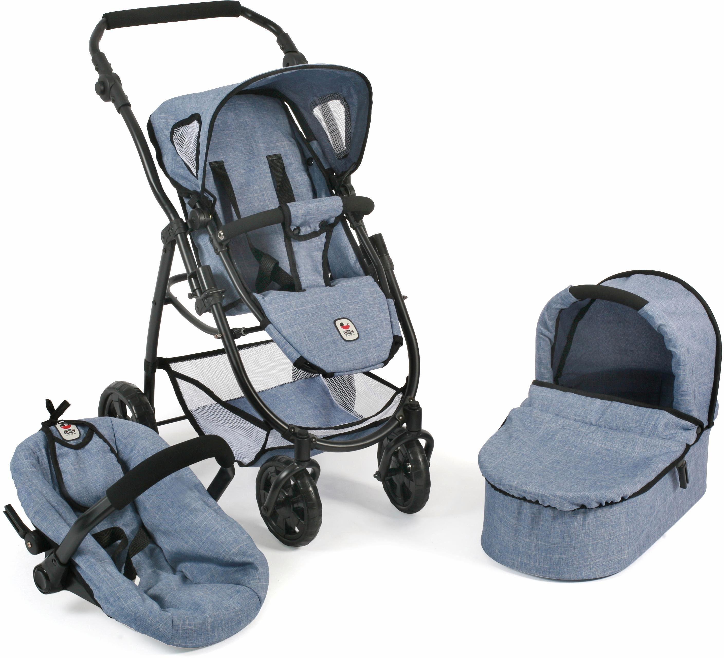 CHIC2000 Kombi Puppenwagen m. Babywanne,Puppen-Autositz u. Sportwagenaufsatz, »Emotion 3in1, blau«