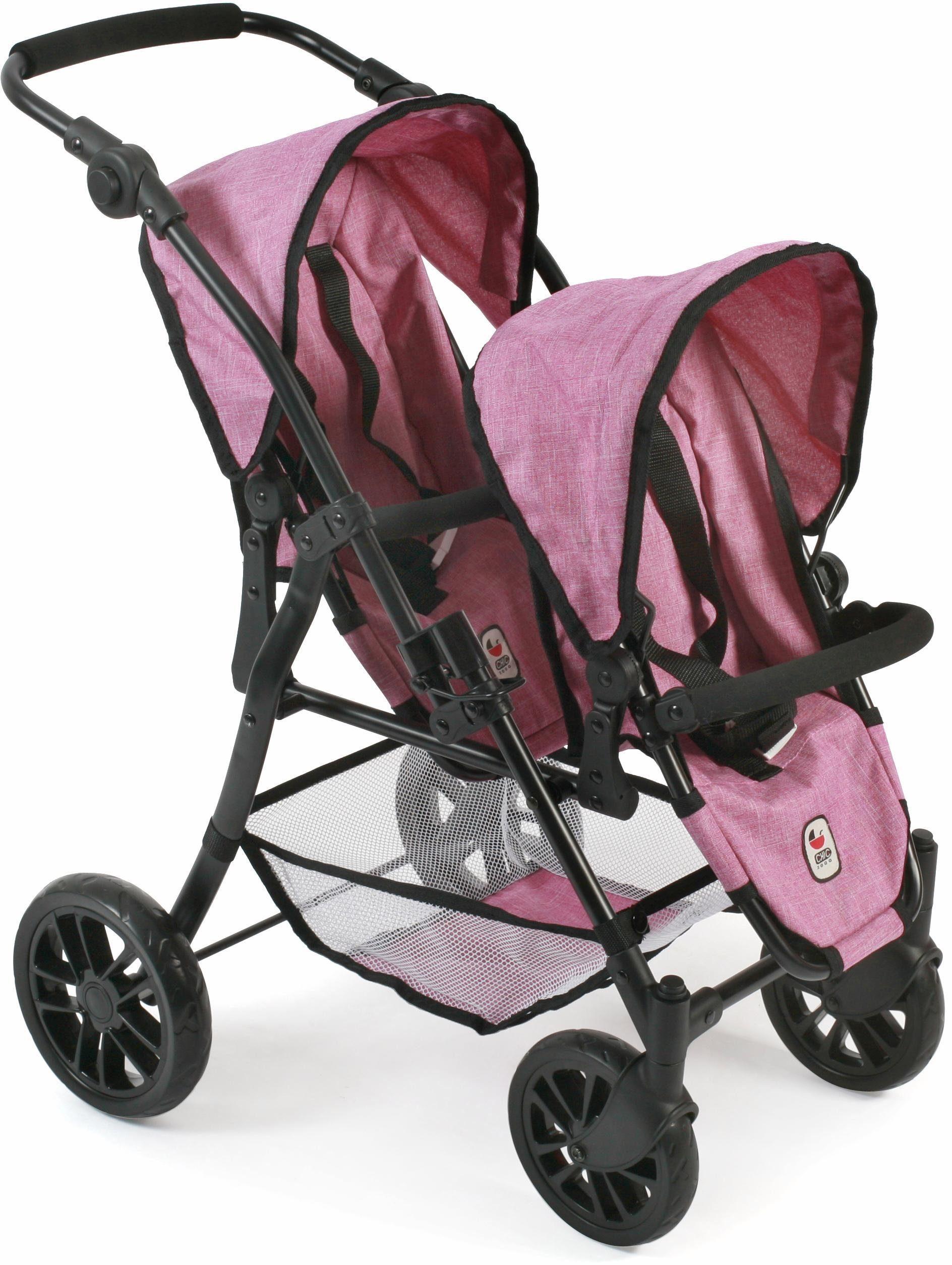 CHIC2000 Puppen Tandembuggy mit schwenkbaren Vorderrädern, »Twinny, pink«