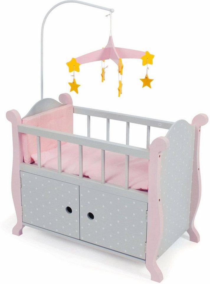 61 x 30 x 76 cm Puppenkinder Puppenbett Himmelbett rosa ca