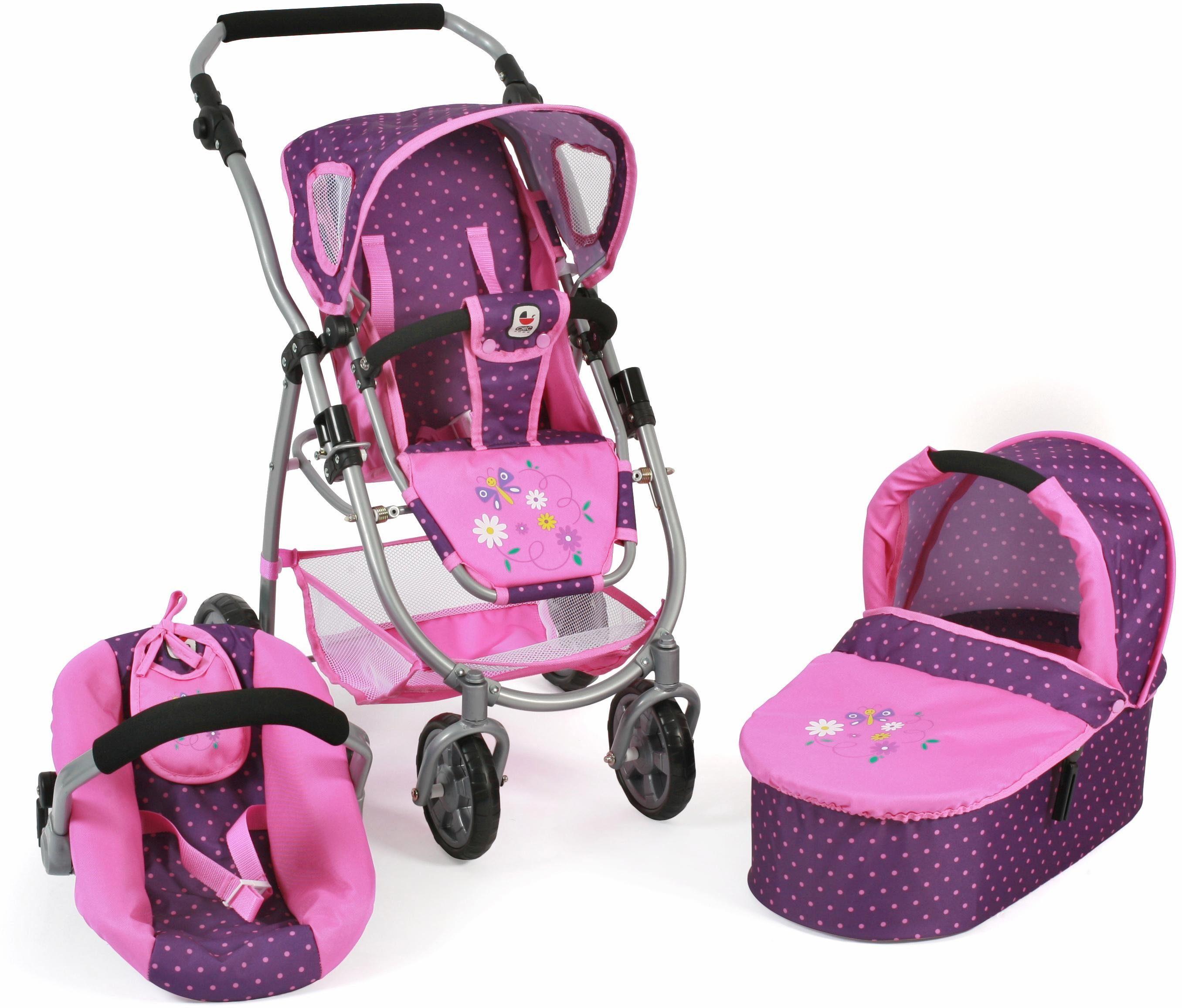 CHIC2000 Kombi Puppenw. m. Babywanne, Puppen-Autositz u.Sportwagenaufsatz, »Emotion 3in1, lila-pink«