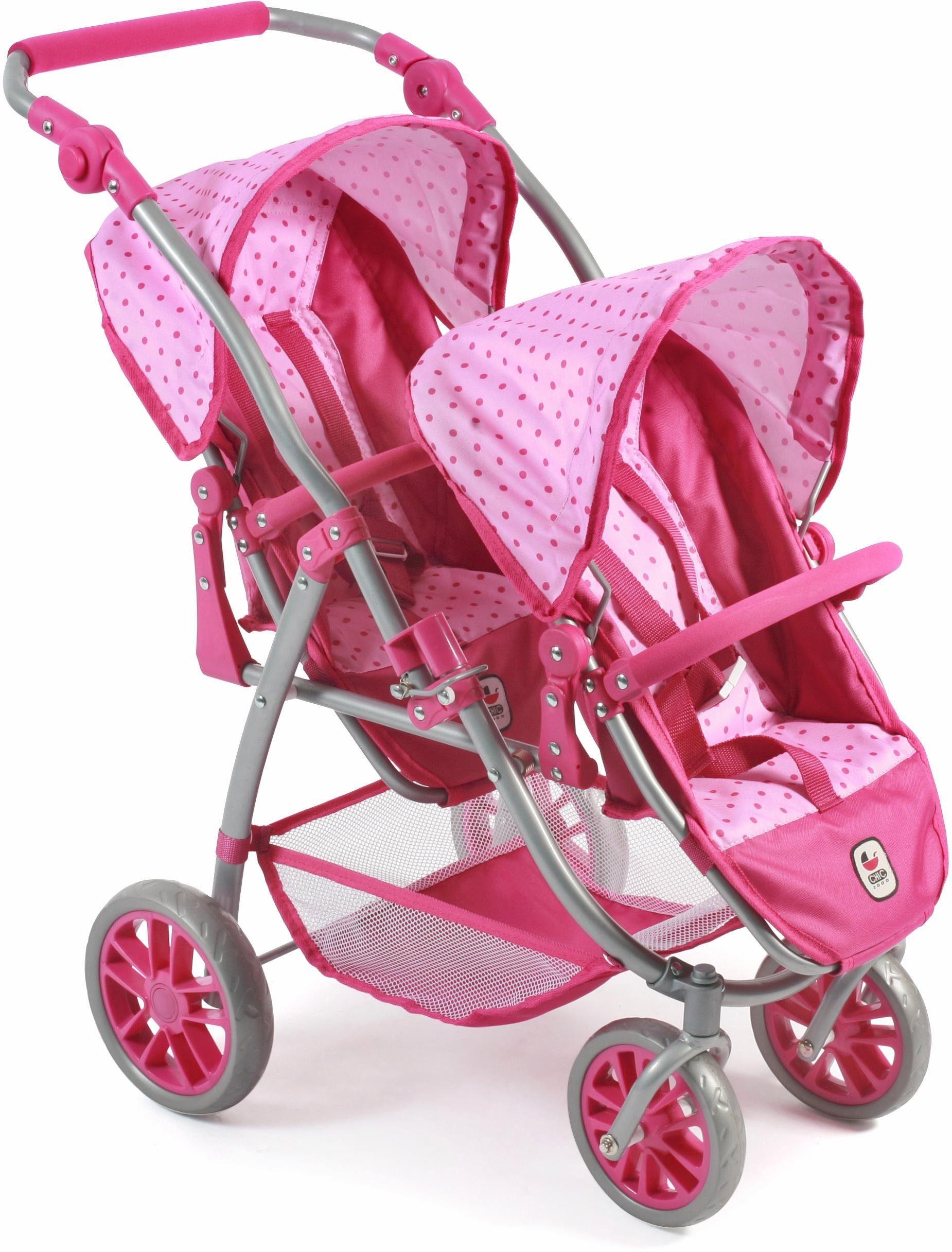 CHIC2000 Puppen Tandembuggy mit schwenkbaren Vorderrädern, »Vario, pink«