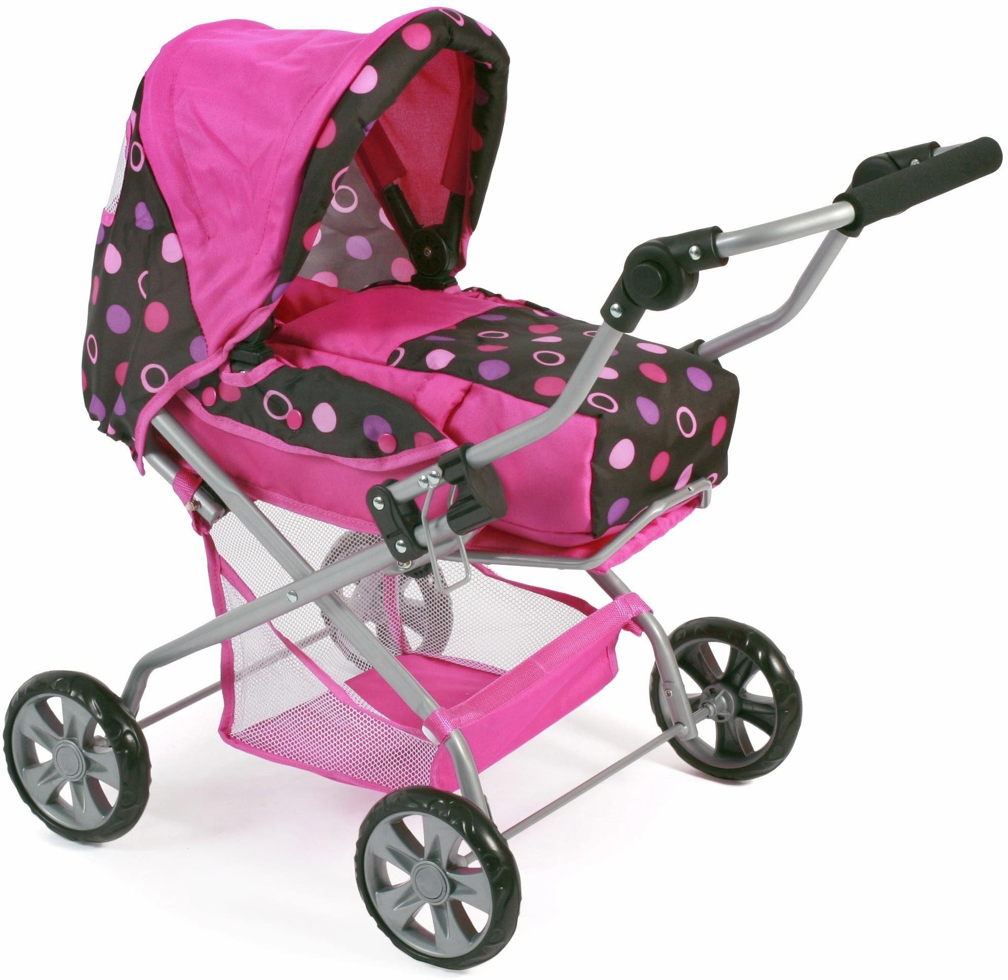 CHIC2000 Kombi Puppenwagen mit herausnehmbarer Tragetasche, »Piccolina, schwarz-pink«