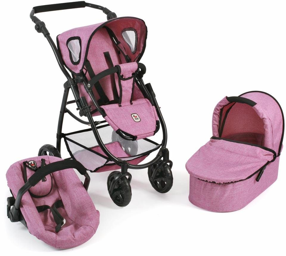CHIC2000 Kombi Puppenwagen m. Babywanne,Puppen-Autositz u. Sportwagenaufsatz, »Emotion 3in1, rosa«