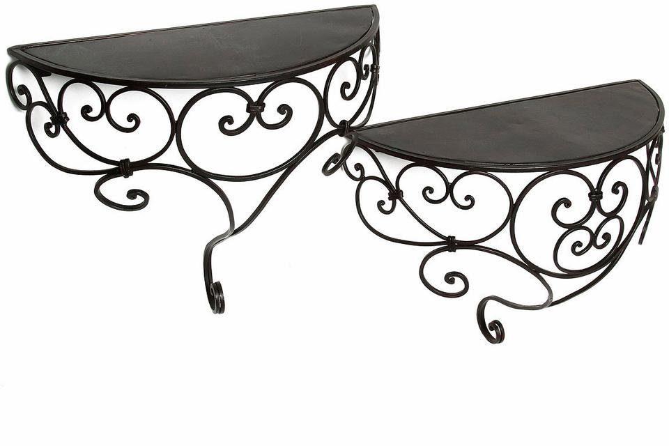 Home affaire Wandregal-Set »Antik I« (2 tlg), schwarz, aus stabilem Eisen