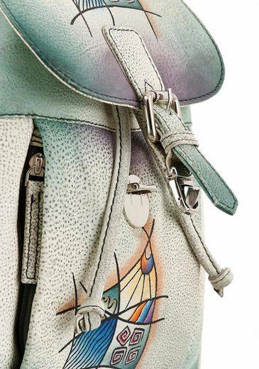 Art & Craft Cityrucksack, aus echtem Leder mit praktischen Vortaschen