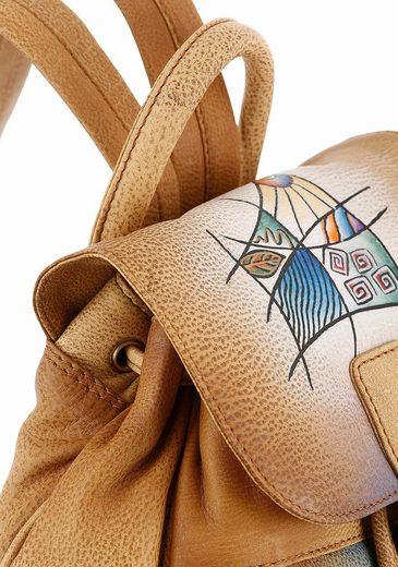 Sac À Dos City Art &; Craft, En Cuir Véritable Avec Poches Pratiques Sur Le Devant