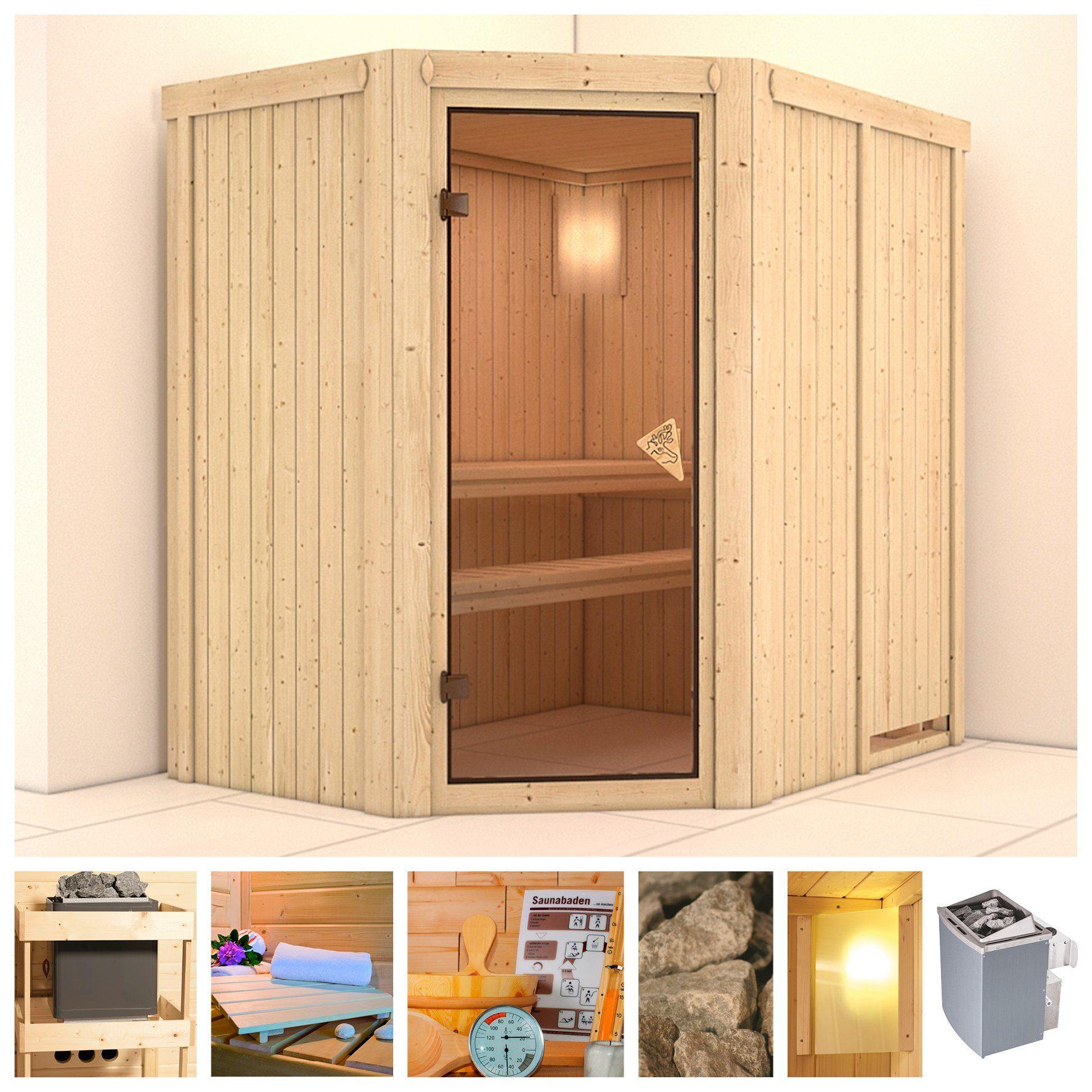 KONIFERA Sauna »Carin«, 196/151/198 cm, 68 mm, 9-kW-Ofen mit int. Steuerung