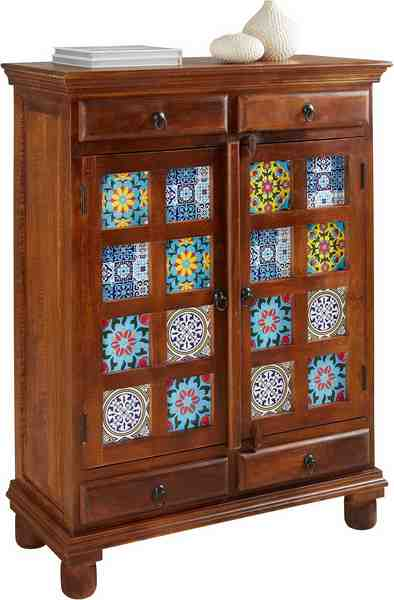 Home affaire Highboard »Bombay« mit Keramikelementen