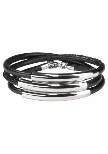 J.Jayz Wickelarmband »schwarzes Armband zum Wickeln mit Naht und 3 Metallelementen« (1-tlg)