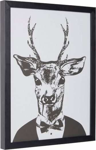 G&C Kunstdruck »Reh im eleganten Anzug«, 33/43 cm, gerahmt