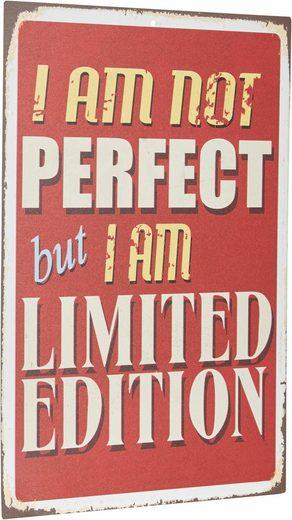 Home affaire Metallschild »I am not perfect …«, Maße (B/H): ca. 30/45 cm
