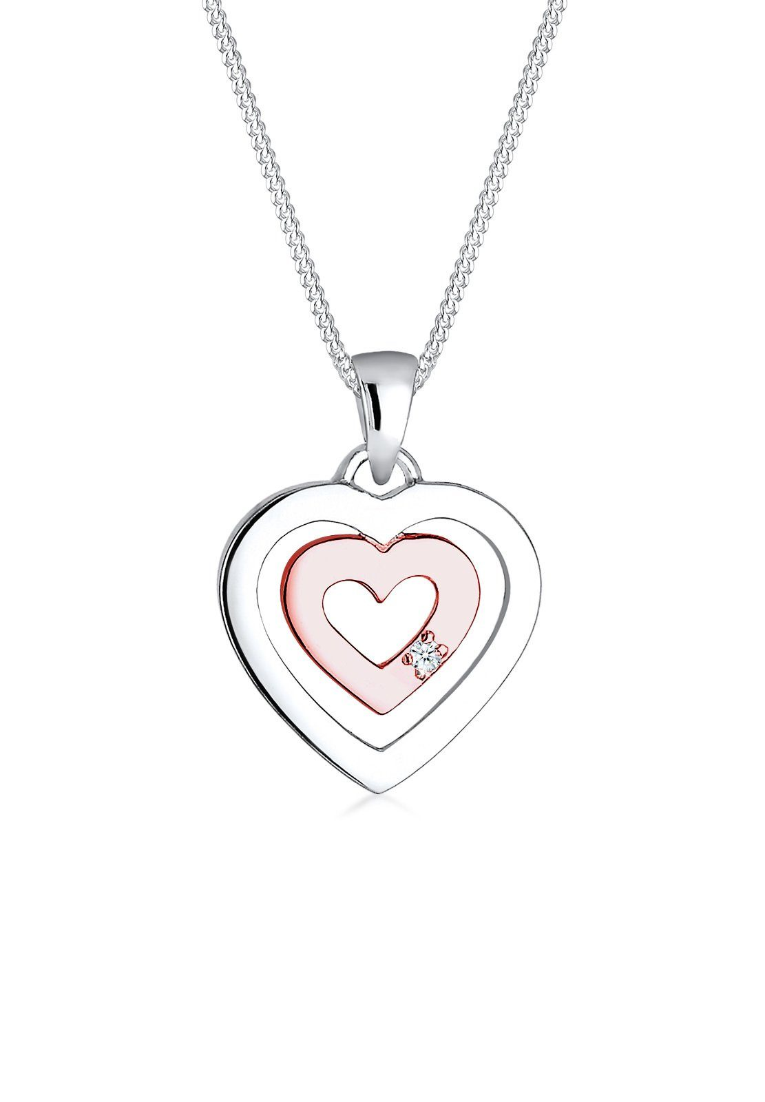 Diamore Halskette »Herz Diamant Bi-Color 925 Sterling Silber«