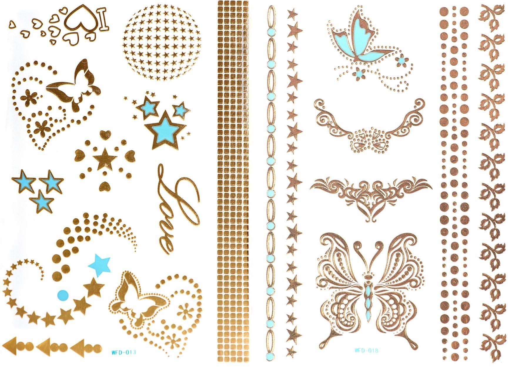 Schmuck-Tattoos, »3D Flash Tattoos«, Gold-Tattoos mit 3D-Effekt (2-tlg. Set)