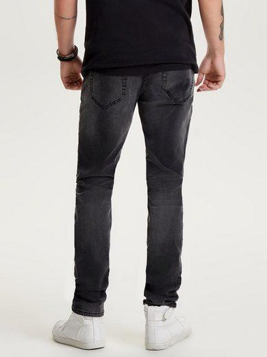 ONLY & SONS Schwarze Loom Slim-Fit-Jeans im 5-Pocket-Stil