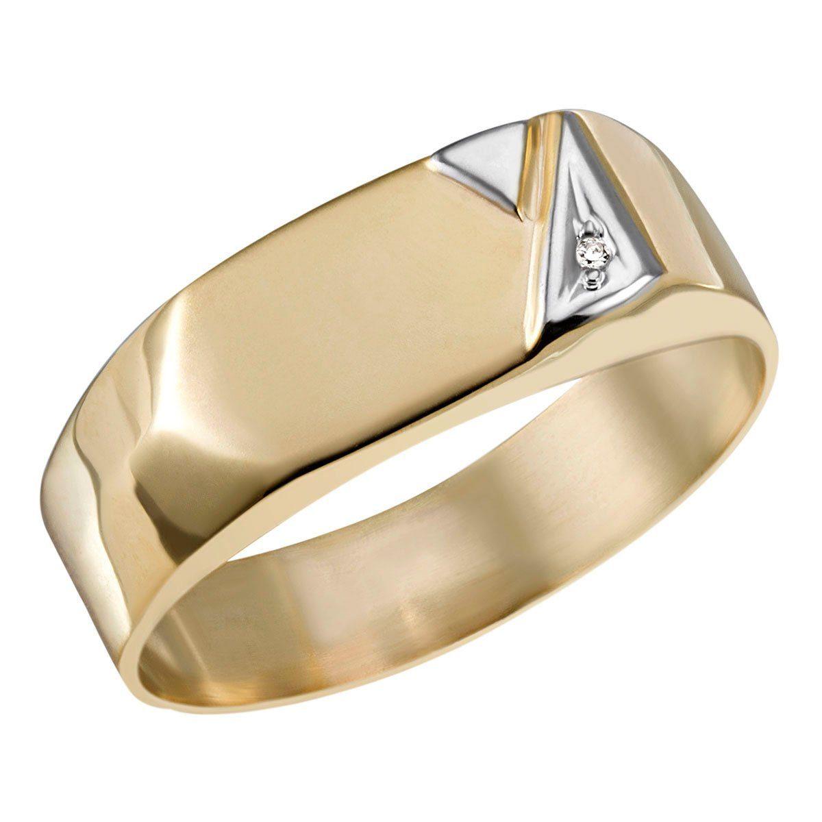 goldmaid Herrenring 375/- Gelbgold 1 Diamant 0,01 ct P2